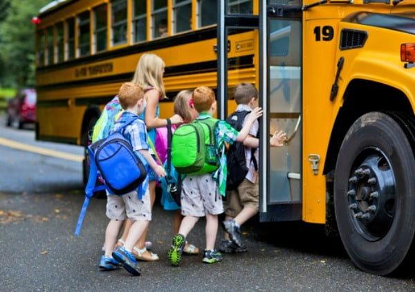 Children Getting on School Bus. Part of the personal story of Shirley Braden [on GlutenFreeEasily.com].