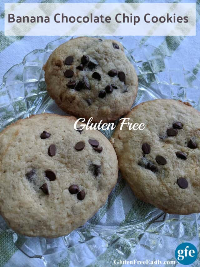Gluten-Free Banana Chocolate Chip Cookies. Think banana bread with chocolate chips in cookie form. Warm out of the oven, these cookies are simply amazing! [from GlutenFreeEasily.com]