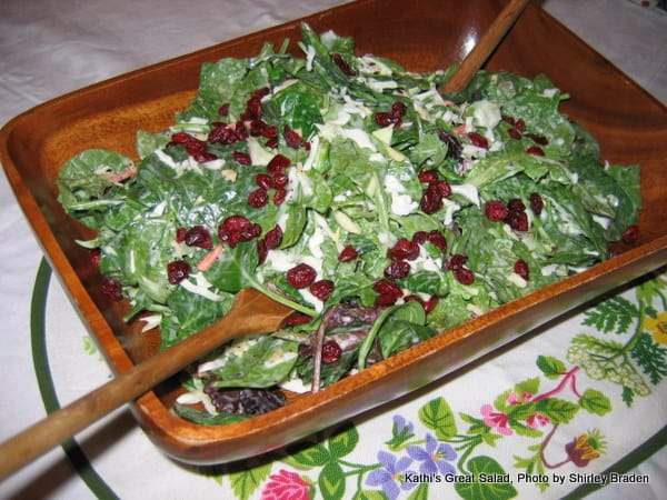 Kathi's Great Salad with Poppy Seed Dressing is fabulous for any occasion with its wonderful mix of crunchiness, chewiness, and sweetness. It will convert non-salad lovers to salad fans and it can easily be made when you arrive at your destination. [from GlutenFreeEasily.com] (photo)