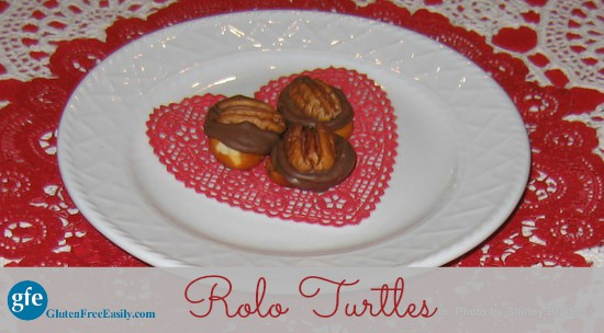 How to make Gluten-Free Rolo Turtles. Just three ingredients create these ooey gooey treats that give you chewiness, chocolate, plus sweet and salty! From Gluten Free Easily. (photo)