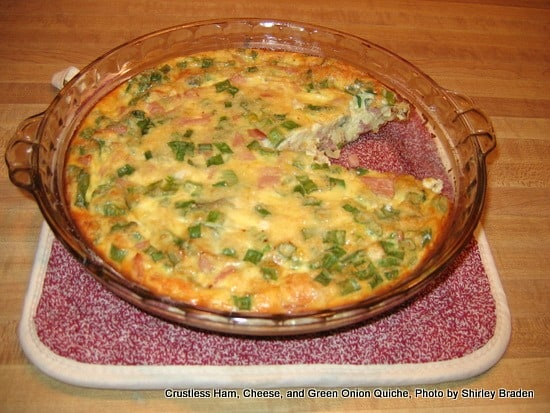 Crustless Gluten-Free Quiche. Ham and green onion version shown. You won't believe how easy it is to turn your favorite quiche into a crustless gluten-free version! So delicious and super easy, too. [from GlutenFreeEasily.com]