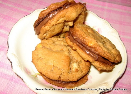 The easiest, most decadent treat you can imagine! Flourless Peanut Butter Nutella Sandwich Cookies (photo)