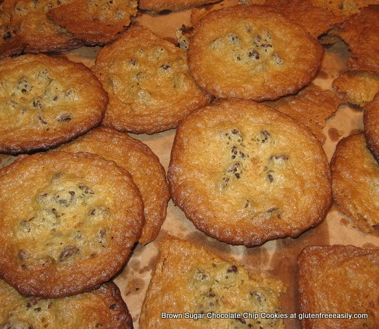 The very best chocolate chip cookies--gluten free or gluten full. They have a somewhat crispy outside and a chewy middle. The buttery brown sugar--think caramelized!--factor takes them over the top!