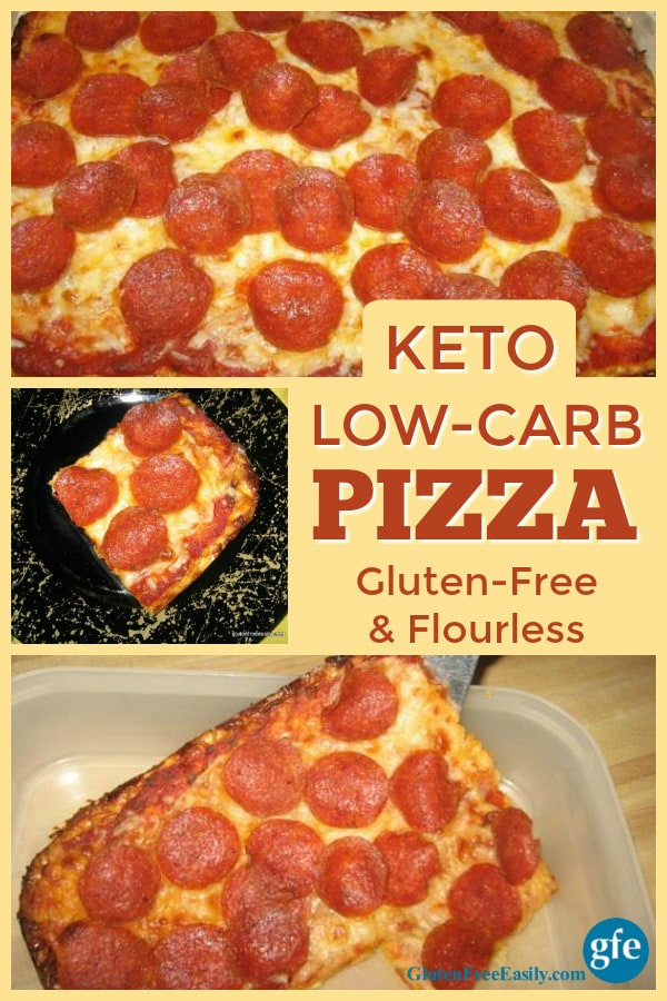 Low-Carb Pizza that's flourless, gluten-free, keto, and absolutely delicious. One slice will fill you up! [from GlutenFreeEasily.com] (photo)