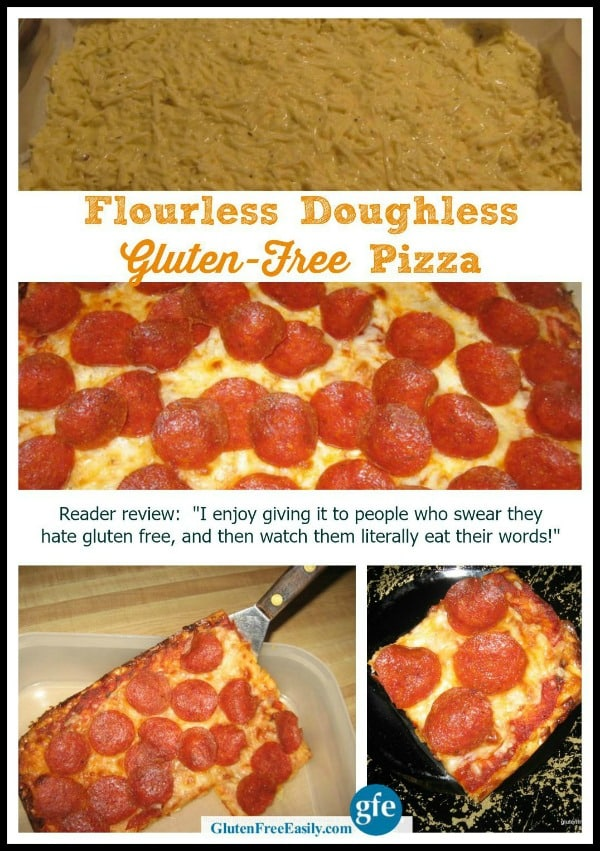 "Flourless Gluten-Free Pizza. You're going to be amazed and totally love this flourless and doughless  pizza. It tastes like ""real"" pizza for real! (photo)"