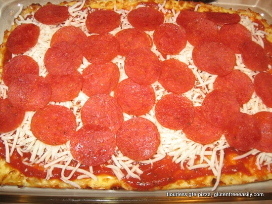 Flourless Gluten-Free Pizza that you can actually pick up with your hands! It's simply amazing and loved by all! (photo)