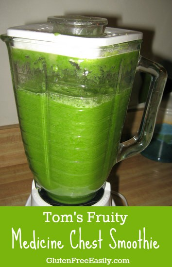 Tom's Fruity Medicine Chest Smoothie at GlutenFreeEasily.com