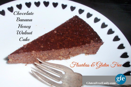 Gluten-Free Flourless Chocolate Banana Honey Walnut Cake