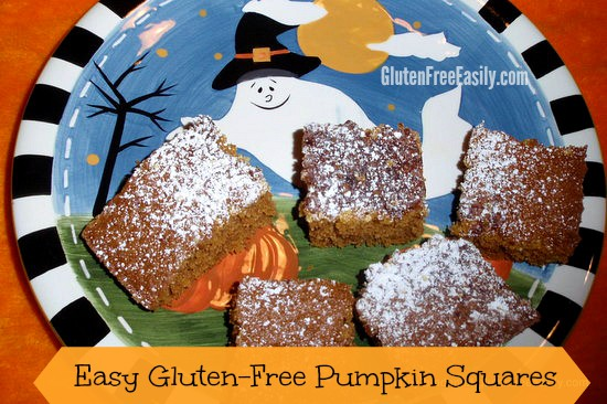 Easy Gluten-Free Pumpkin Squares. These disappear so quickly you won't even believe it! Even non-pumpkin lovers gobble them up! Gluten free, dairy free, with a grain-free option. [from GlutenFreeEasily.com] (photo)