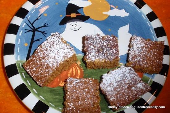 gluten free, dairy free, quick and easy, pumpkin, squares, bars, Halloween, Thanksgiving, fall