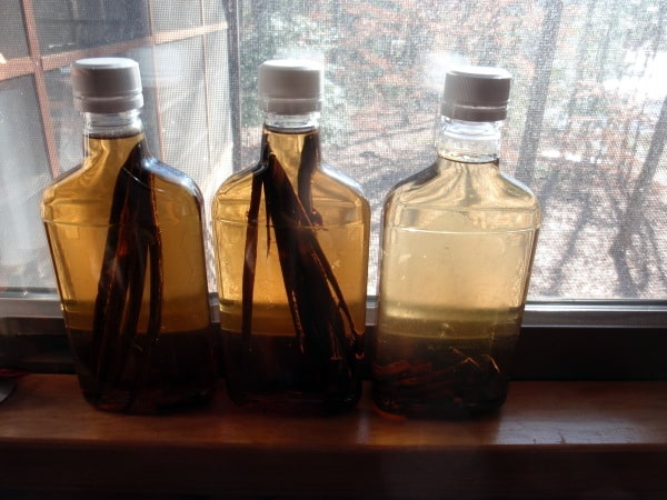 Homemade Vanilla Extract Becoming Extract. Two approaches to making vanilla extract are shown. [from GlutenFreeEasily.com] (photo)