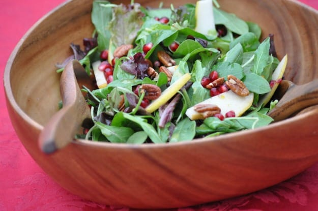 Pear Pomegranate Salad with Orange Vinaigrette Dressing. Perfect for the holiday table!