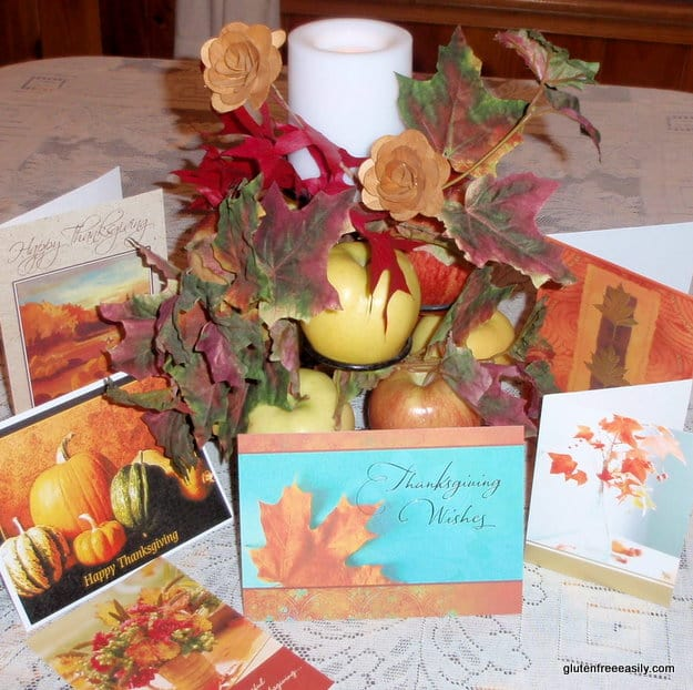 Thankskgiving centerpiece, tips for gluten-free Thanksgiving, tips for allergy-free Thanksgiving, holiday, gluten-free potlucks