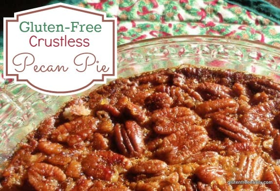 Easy Crustless Gluten-Free Pecan Pie. This pie gets raves and it's gluten free and grain free with a paleo option! [from GlutenFreeEasily.com]