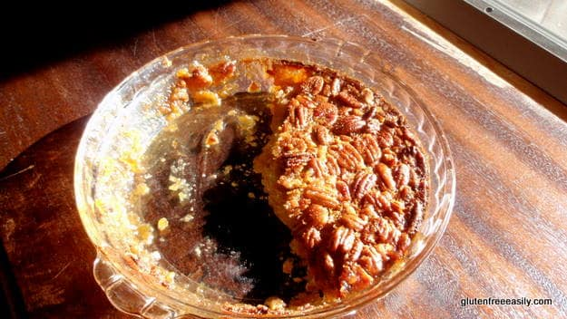 Easy Crustless Gluten-Free Pecan Pie. Naturally gluten free, naturally delicious. NOBODY will miss the crust. [from GlutenFreeEasily.com] (photo)