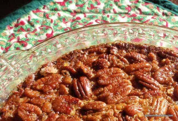gluten-free pecan pie, crustless pecan pie, Thanksgiving desserts, quick and easy recipes, pie recipes, Shirley Braden, Gluten Free Easily