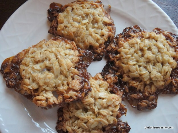 These are the very best oatmeal cookies! I mean look at those caramelized edges. Chewy and delicious Flourless Oatmeal Cookies. Be sure to use certified gluten-free purity protocol oats if you eat gluten free for medical reasons. [from GlutenFreeEasily.com] (photo)