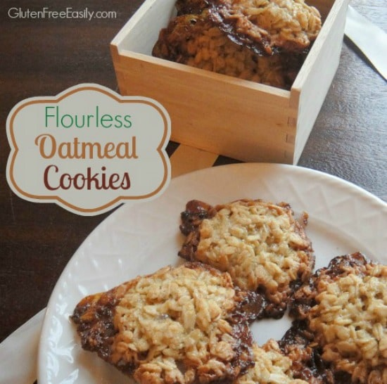 You are absolutely going to love the caramelized goodness of these Flourless Oatmeal Cookies! Be sure to use certified gluten-free purity protocol oats if you eat gluten free for medical reasons. [from GlutenFreeEasily.com] (photo)