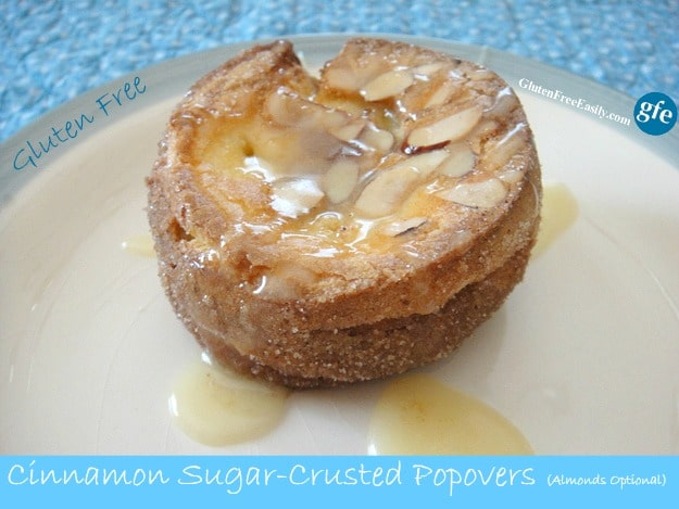 Cinnamon bun flavor in a popover. Gluten-Free Cinnamon Sugar-Crusted Almond Popovers [from Gluten FreeEasily.com] (photo)