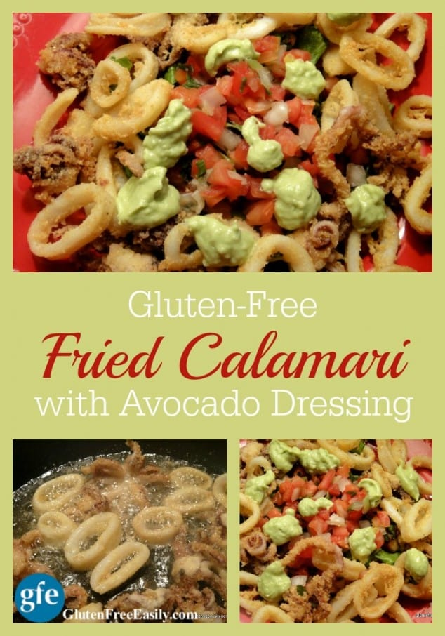 Gluten-Free Fried Calamari. As good as gluten-full calamari ever was! One of 17 gluten-free holiday appetizers that will make your New Year celebration! [from GlutenFreeEasily.com] (photo)