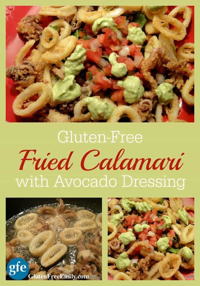 Gluten-Free Fried Calamari with Avocado Dressing at GlutenFreeEasily.com