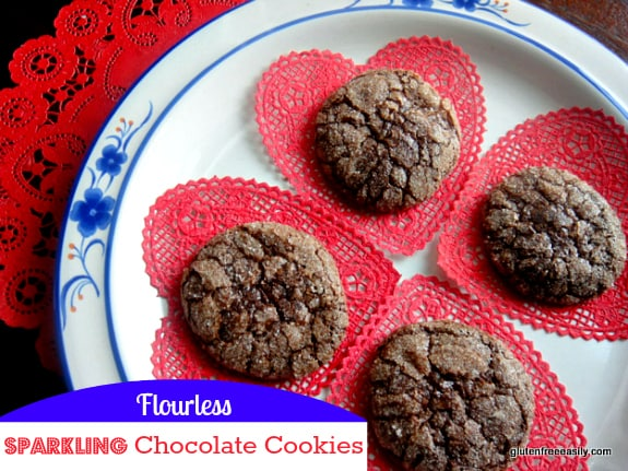 Naturally gluten-free Flourless Sparkling Chocolate Cookies that will wow you! They're sort of magical to be honest. [from GlutenFreeEasily.com] (photo)