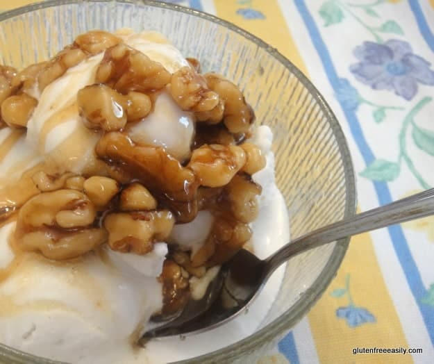 gluten-free ice cream sundae, dairy-free ice cream sundae, maple-nut ice cream sundae, agave nectar recipes, Xagave agave nectar, ice cream recipes, gluten free, dairy free, gluten free easily