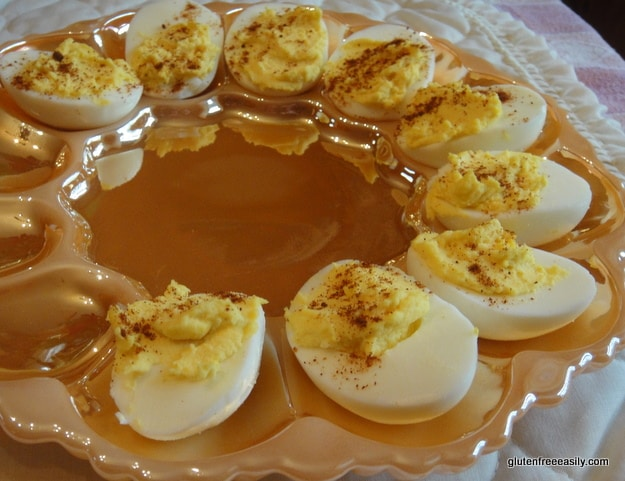 Mom's Deviled Eggs. It's really easy to make totally delicious deviled eggs with Mom's Deviled Eggs recipe and they're naturally gluten free, dairy free, and more free! [from GlutenFreeEasily.com]