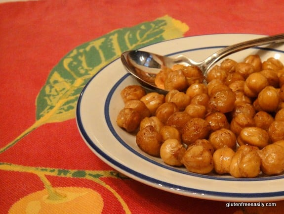 This recipe for Simple Roasted Chickpeas (Garbanzo Beans) is not only simple (only four ingredients and one of them is the chickpeas!) but it's also highly addictive. Wonderfully crunchy and protein-packed! [from GlutenFreeEasily.com]