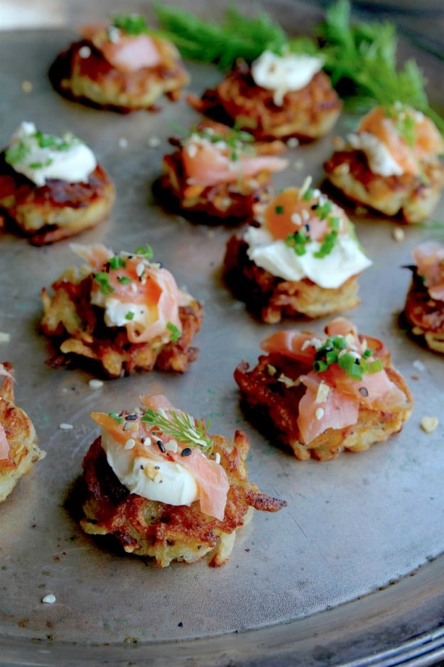 Paleo Mini Everything Latkes with Smoked Salmon