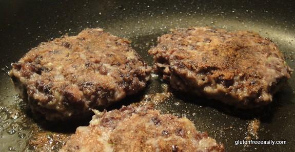 Photo of making Blackened Bean Burgers. Gluten free, vegetarian, with vegan option.