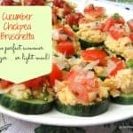 You will be surprised how delicious this Cucumber Chickpea Bruschetta is! Cucumber slices topped with mashed chickpeas, tomatoes, onions, and herbs. Yum! [from GlutenFreeEasily.com]