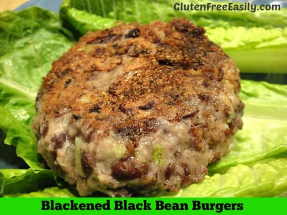 Everyone loves these Blackened Black Bean Burgers! They're just so darned good! The blackened seasoning makes all the difference. Naturally gluten free, vegetarian, with a vegan option. [from GlutenFreeEasily.com] (photo)