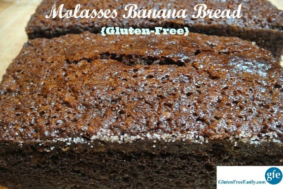 Gluten-Free Molasses Banana Bread is the best banana bread!! This recipe tastes more like cake than typical banana bread. In fact, Mr. GFE always thinks it's chocolate cake! [from GlutenFreeEasily.com]