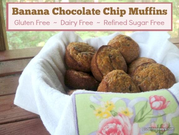 Banana Chocolate Chip Muffins (Gluten Free, Dairy Free, Refined Sugar Free) at Gluten Free Easily
