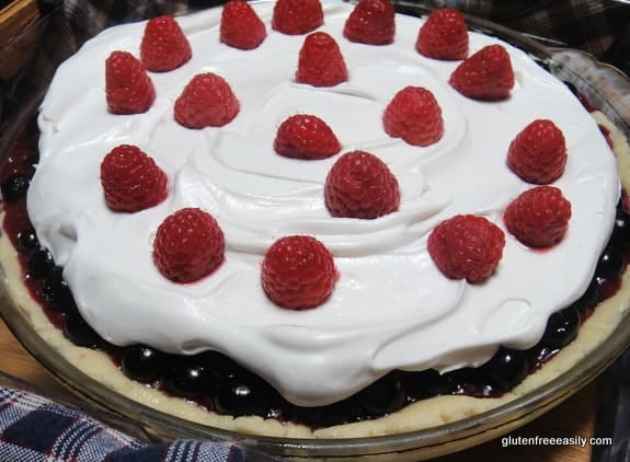 This beautiful red, white, and blue dessert works patriotic holidays and all summer long! No-Bake Gluten-Free Blueberry Pie with Honey Whipped Cream [from GlutenFreeEasily.com] (photo)