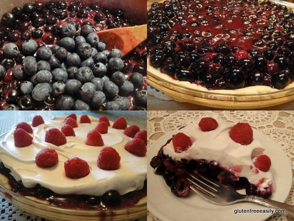 It's all easy steps to make this No-Bake Blueberry Pie with Honey Whipped Cream [from GlutenFreeEasily.com] (photo)