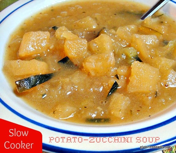 Slow Cooker Potato-Zucchini Soup at Gluten Free Easily