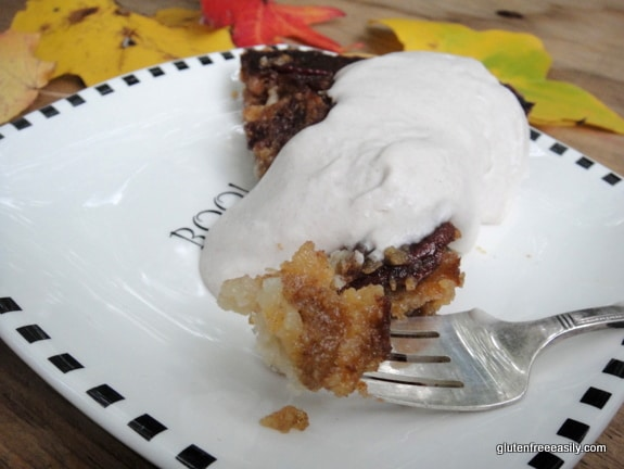 Pumpkin Pecan Pie. If you love both pumpkin pie and pecan pie, this Pumpkin Pecan Pie will become your new favorite for sure! [from GlutenFreeEasily.com] (photo)