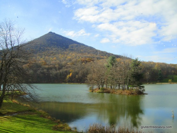 A gluten-free mini vacation to Peaks of Otter in Bedford VA and more. Shown are Sharp Top mountain and Lake Abbott. [from GlutenFreeEasily.com]