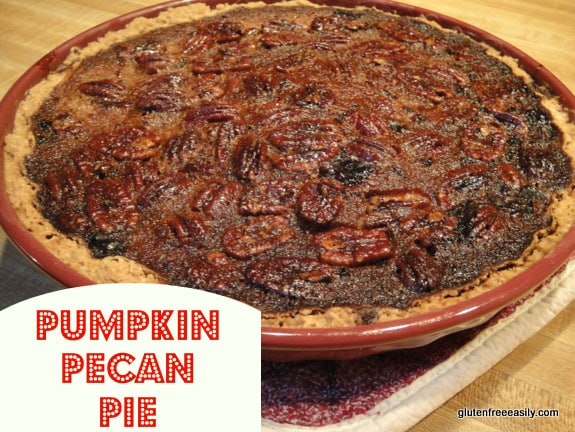 Two beloved classics---Pumpkin Pie and Pecan Pie---come together in this gluten-free Pumpkin Pecan Pie recipe. So it's no surprise that many will claim this one as their new favorite pie! [from GlutenFreeEasily.com]