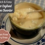 Quick and easy gluten-free New England Clam Chowder. Dairy free, too, if needed. And absolutely delicious! A well-stocked pantry will help you enjoy this rich chowder in minutes. [found at GlutenFreeEasily.com]