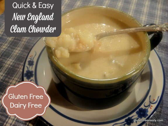 Quick and easy New England Clam Chowder - gluten free and dairy free (if needed)! And absolutely delicious! A well-stocked pantry will help you enjoy this rich chowder in minutes. [found at GlutenFreeEasily.com] (photo)