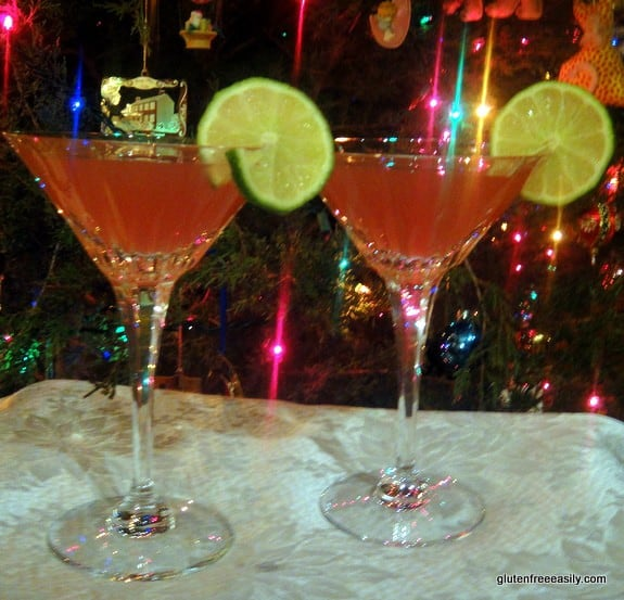Pom-Bom-Spice-Tinis! Ideal for any celebration. Warning: If these cocktails were a Jeopardy answer they'd be in the Potent Potable category. [featured on GluteFreeEasily.com] (photo)