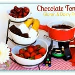 This gluten-free Chocolate Fondue recipe, which is also dairy free (or not, your choice), is perfect for so many occasions! Valentine's Day, New Year's, bridal showers, birthday parties, etc. Pick your favorite dipping materials for a very special experience! [featured on GlutenFreeEasily.com]