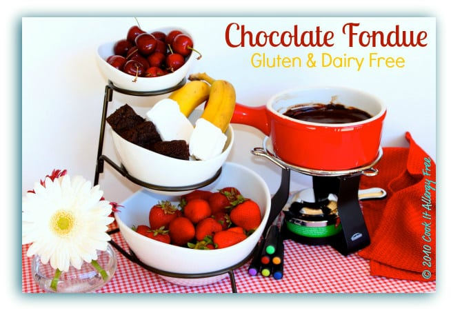 Gluten and dairy free chocolate fondue from Cook It Allergy Free featured at gfe--Gluten Free Easily