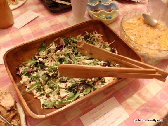 great salad, potluck dish, cabbage salad, mixed greens, cole slaw mix, Craisins, cranberries, almonds