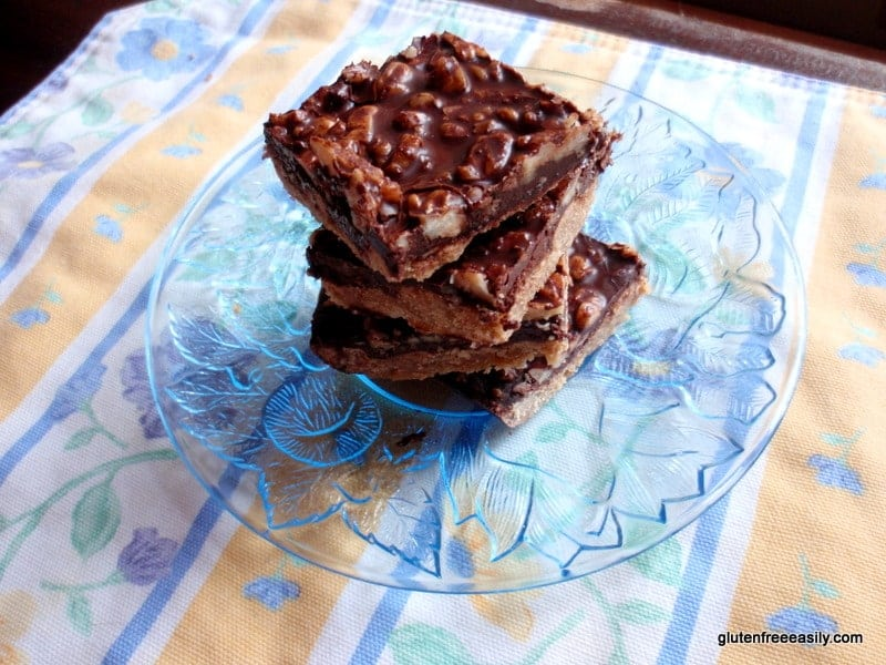 Gluten-Free Dark Chocolate Walnut Bliss Bars. Plus dairy free and refined sugar free, too. Freezer time firms the bars and intensifies the dark chocolate flavor. So, so good!