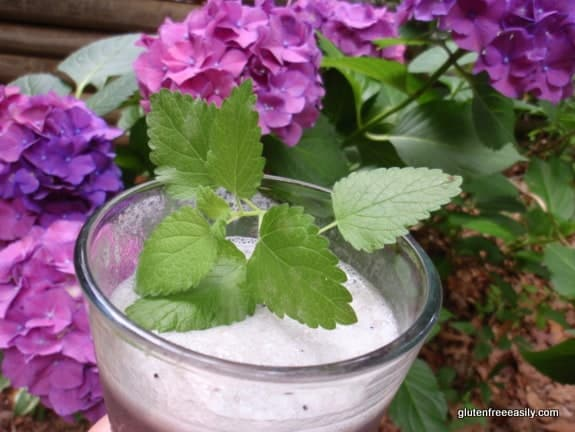 Blueberry Banana Foamie with Lemon Balm Sprig. One of many fabulous Gluten-Free Mother's Day Brunch Recipes! From Gluten Free Easily.