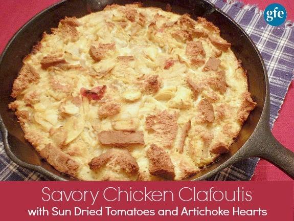 Savory Lemon-Kissed, Sun-Dried Tomato Artichoke Chicken Clafoutis at Gluten Free Easily